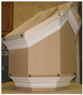 Gable End Rake Crown Corner [D] Molding Miter Angle and Bevel Angle ...