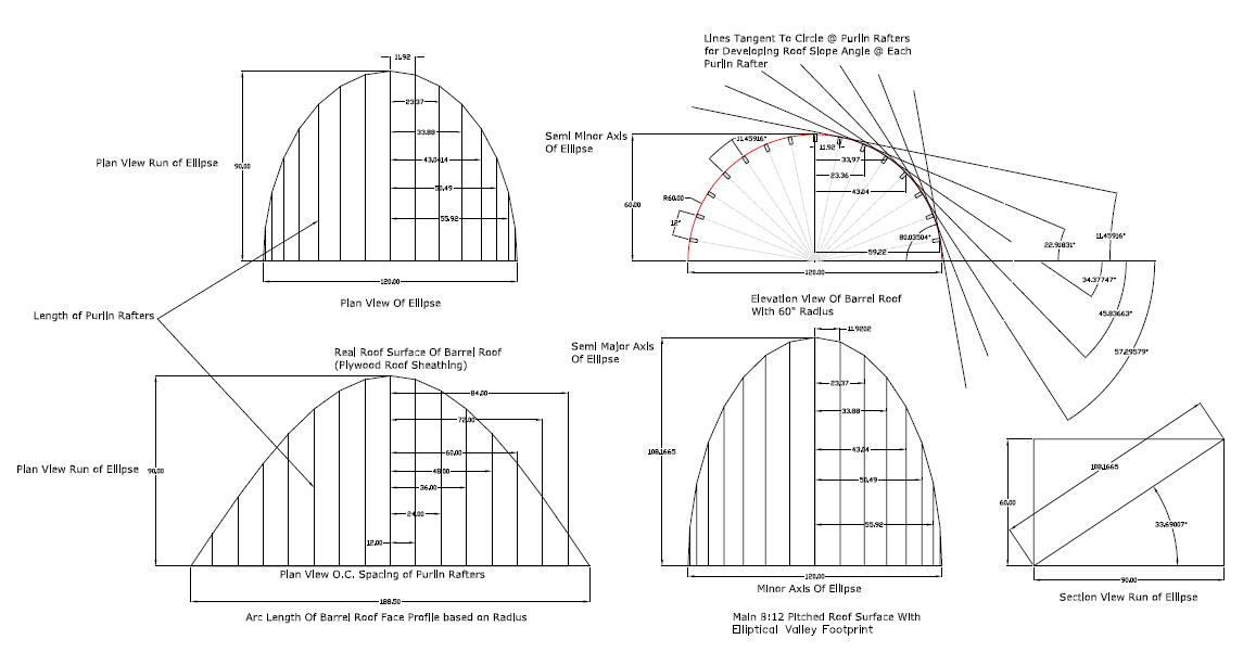 Barrel Roof - Rafter Framing Calculator